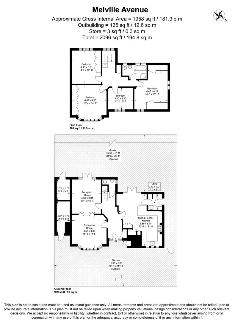 Floorplan for Melville Avenue, West Wimbledon